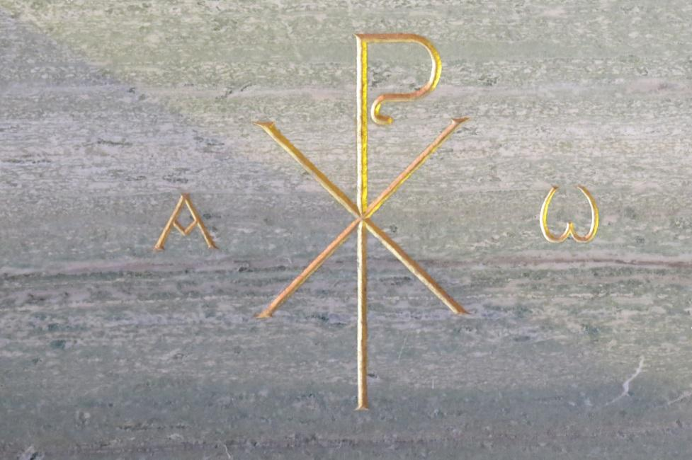 Modern chi-rho symbol in Newbattle Parish Church